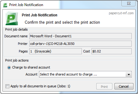 PaperCut Print Job Notification dialog box.
