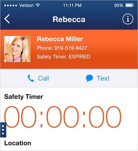 a phone contact is assigned to the safety timer