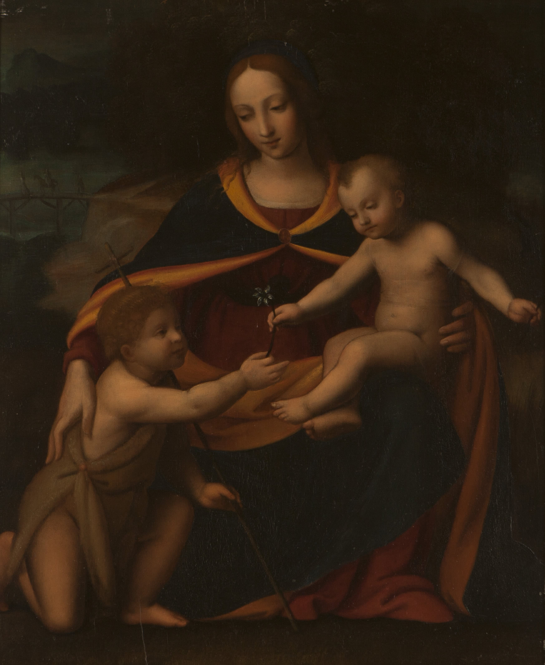 Oil Painting Madonna and Child with St. John the Baptist.