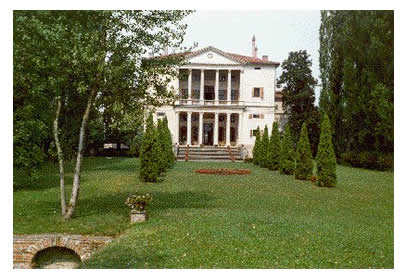 Fully restored Villa Cornaro outside the front with landscaping.