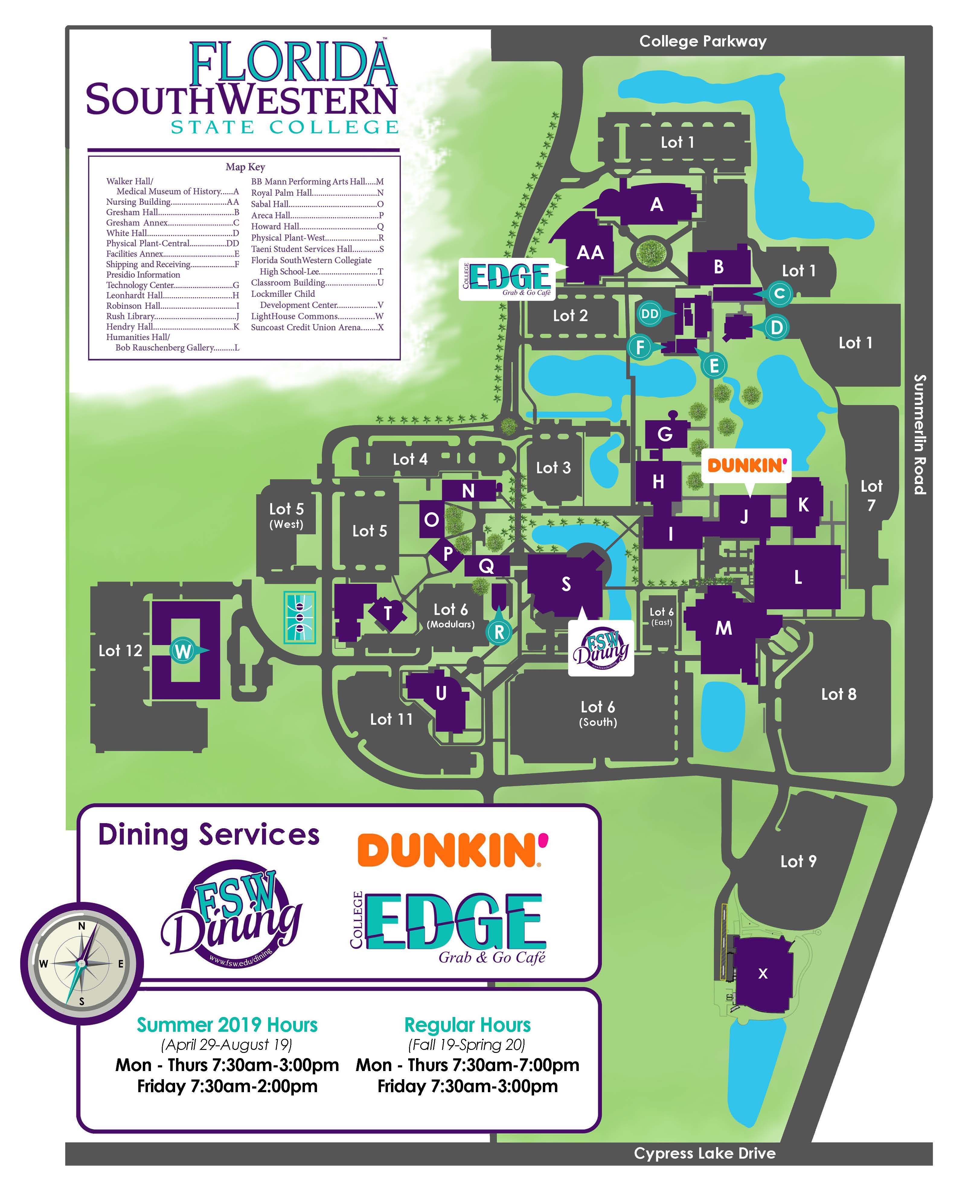 Map of Lee Campus dining locations