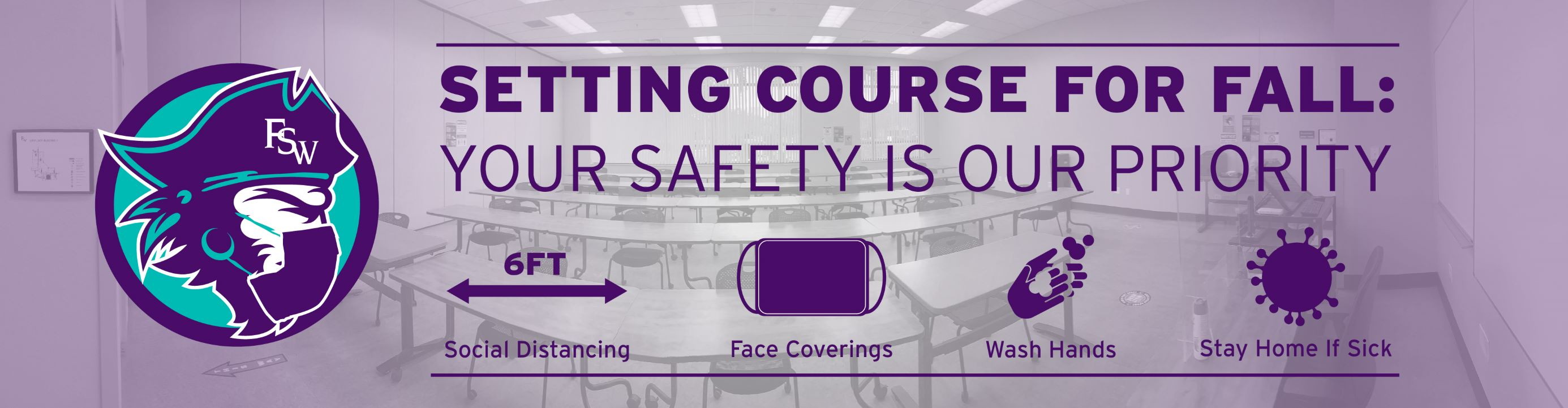 Face coverings and social distancing required in all FSW buildings beginning July 13th.