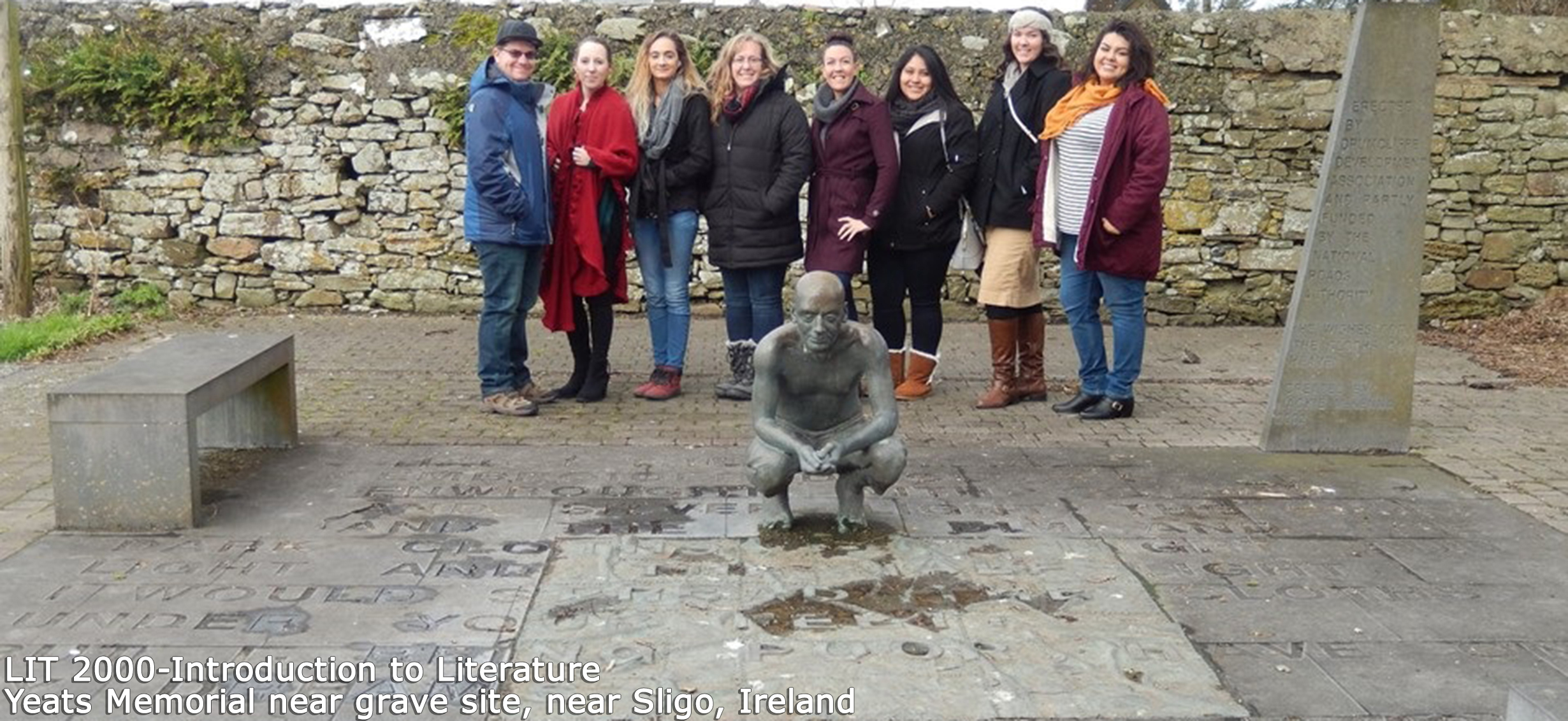 LIT 2000 - Introduction to Literature class at Yeats Memorial near grave site, near Sligo, Ireland