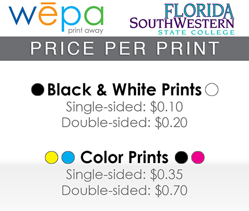 FSW wepa printing costs ten cents per black and white side; thirty five cents per color side