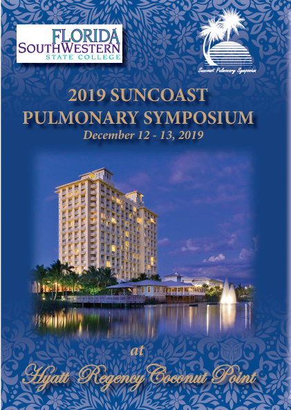 Save the date, September 4 through 6, 2019. The 2019 Suncoast Pulmonary symposium, Hyatt regency coconut point resort and spa, Estero, FL.