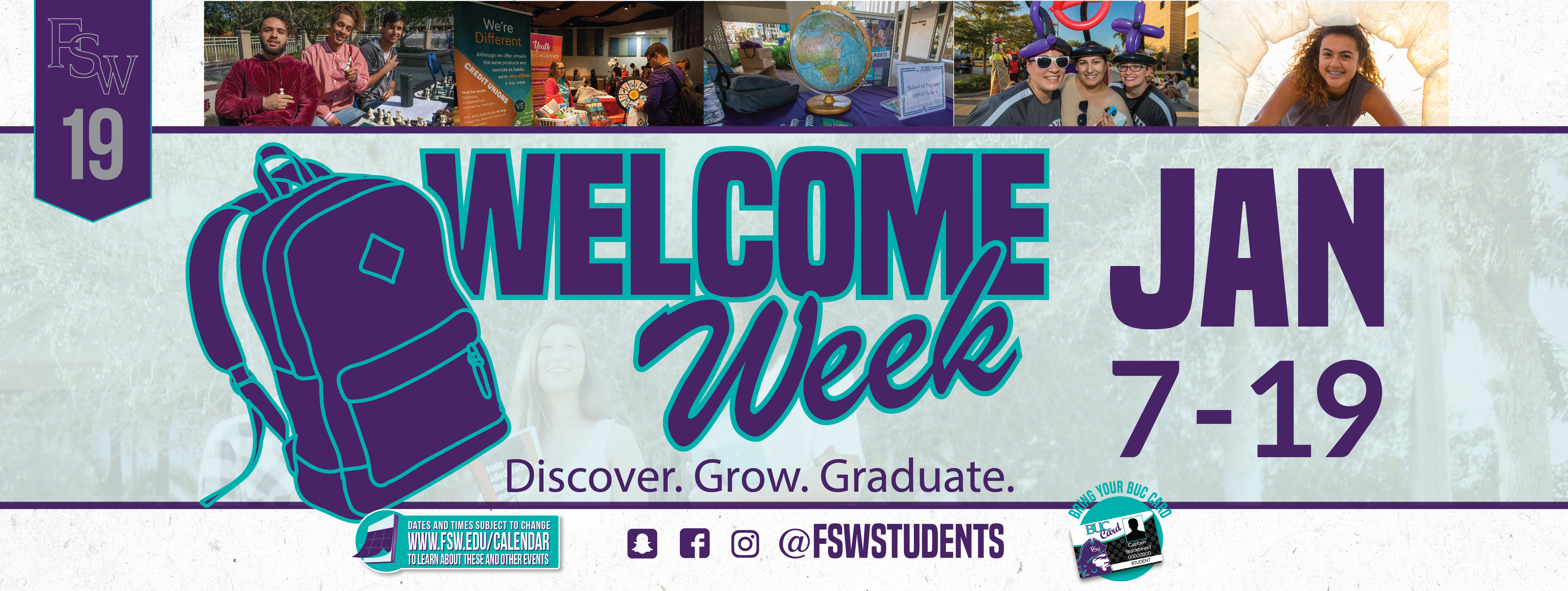 Welcome Week January 7-19, 2019