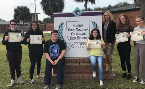 "Congratulations to the following students for being selected as a ""Student of the Month"" for November or December at Florida SouthWestern Collegiate High School. Pictured with Principal Michelle Wier are: Hunter Brown (9), Carmen Galvan-Cuevas (9), Ryan Spong (10), Kaila Sukennikoff (11), Allison Bordner (12), Katelyn Bontrager (12) Not pictured: Daniela Rodriguez (10), Amy Enberg (11), Athena Reyes (12)"