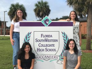 FSWC September Students of the Month Pictured are: Freshman Sophia Clancy (seated left), Sophomore Hunter Ingram (standing left), Junior Alicia Longo (standing right, and Senior Amy Enberg (seated right)
