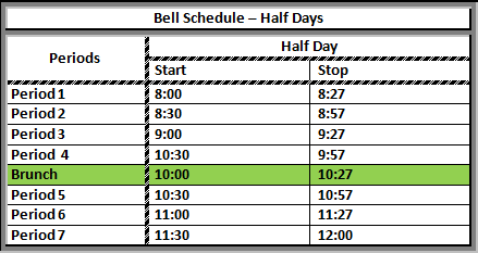 School Bell Schedule Half Day
